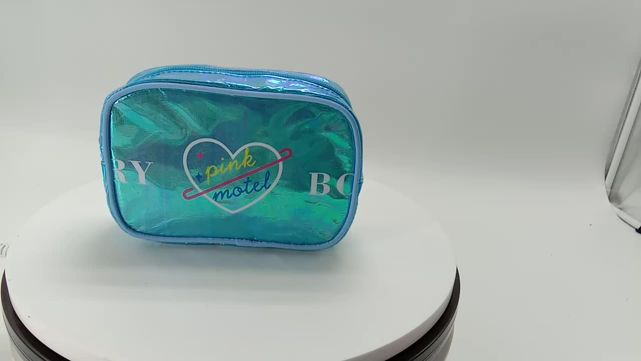 ARTGIMEN Holographic Shiny Rainbow Makeup pouch Portable Colorful Laser Iridescent Cosmetic Bag Hologram Toiletry Wash Bag