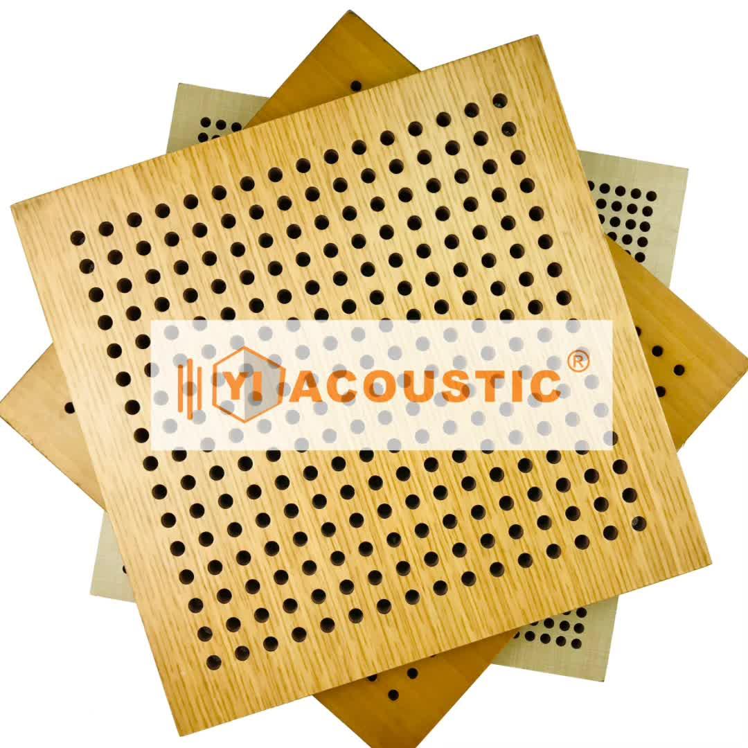 Panel de pared acústico de estudio de espuma acústica panel de fibra de vidrio de madera para mascotas perforado panel acústico