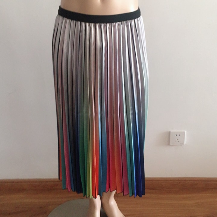 women with lining rainbow print pleated maxi satin long skirt