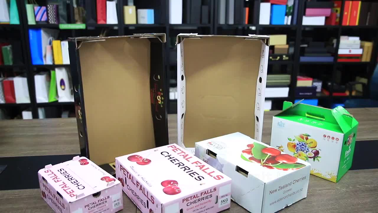High quality of custom gift fruit paper packing boxes with handle