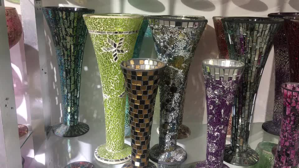 Sparkle Mosaic Trumpet Vase Home Table Decoration Glass Tall