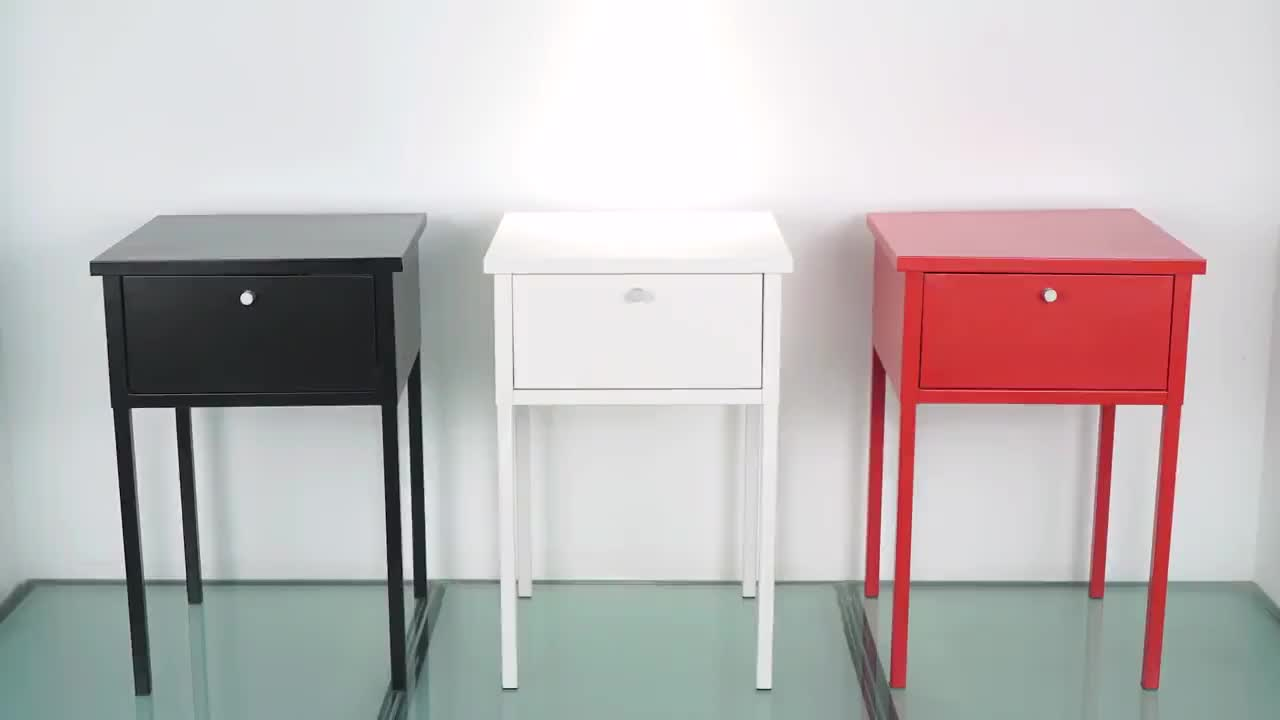 White Finish Modern Nightstand Side End Table With Drawer