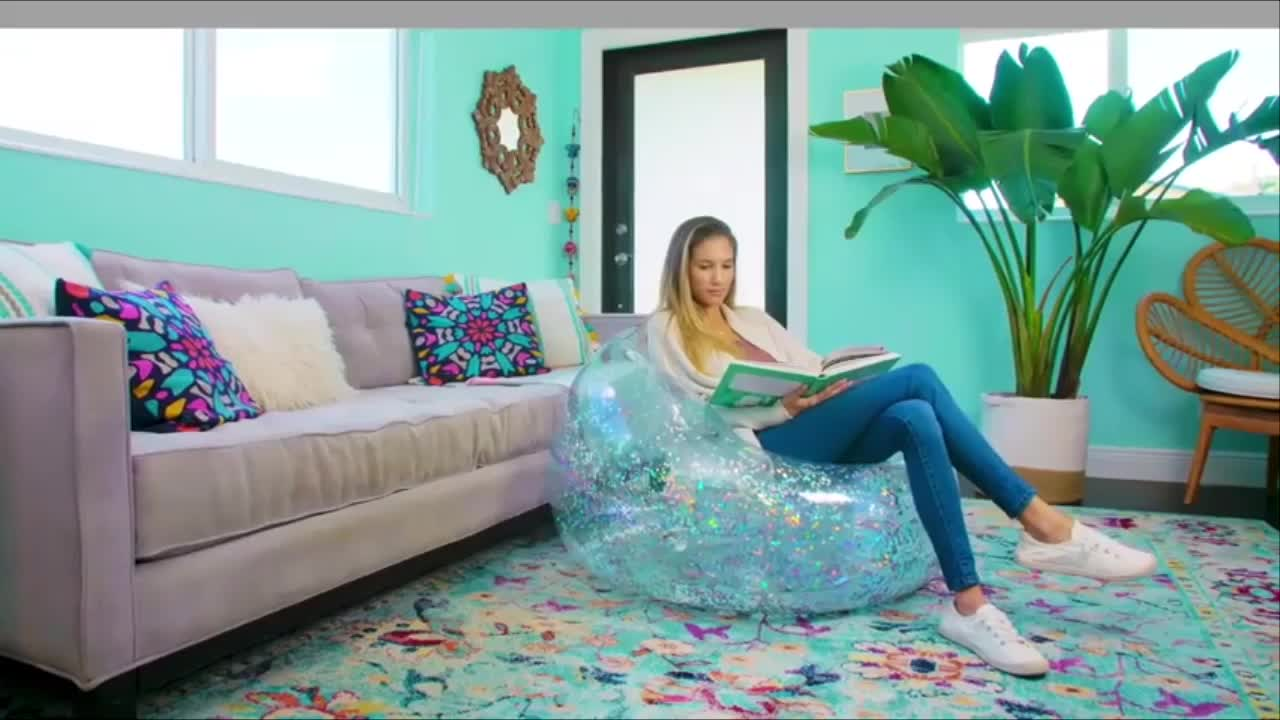 LC Customize Inflatable Chair Glitter Air Sofa Inflatable Transparent Inflatable Sofa Furniture with Stool