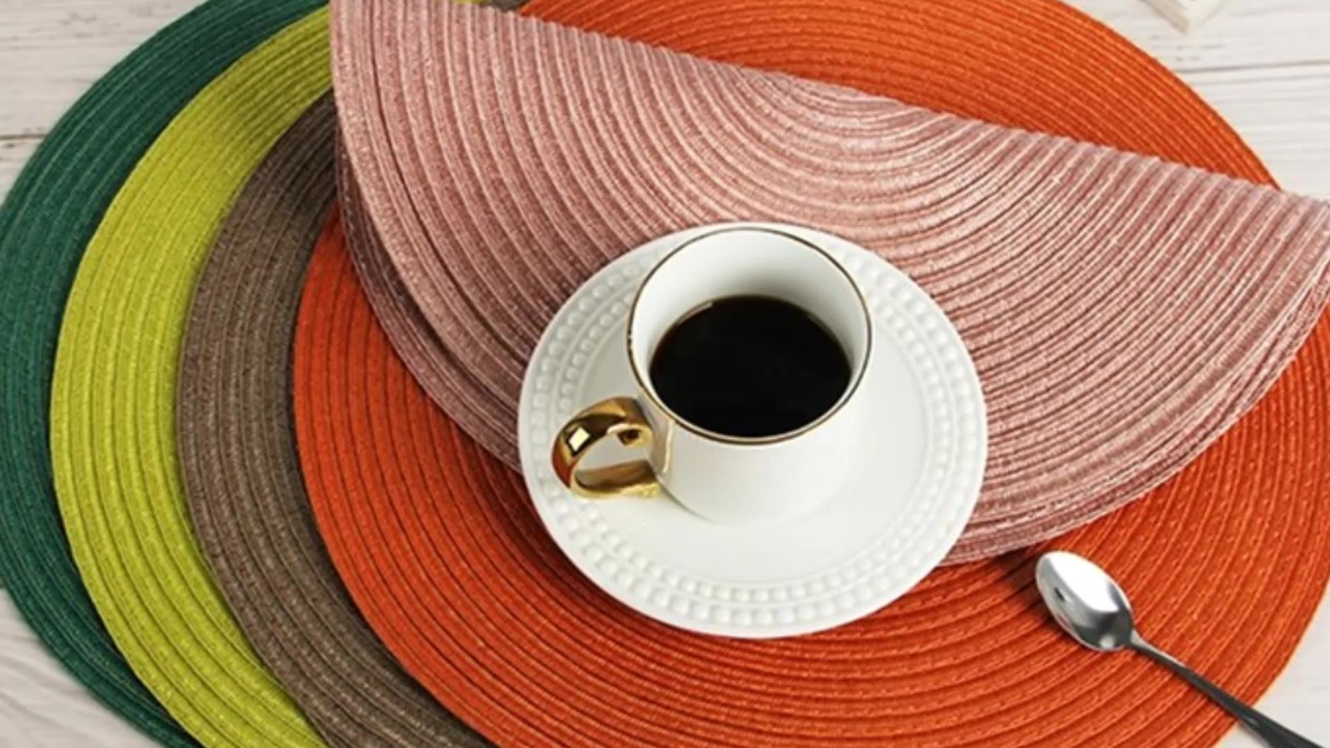 tableware placemat mat pp non slip wire waterproof placemats Polyester Table Mats for home use