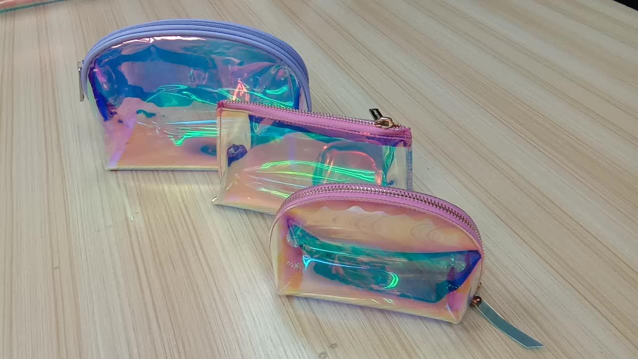 シックなホログラフィック化粧ポーチ虹色化粧品袋ホログラムクラッチアメニティポーチホログラフィック便利なメイクアップ女性イブニングバッグ