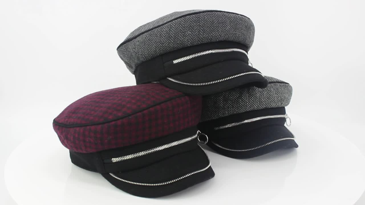 Custom lady and woman wool blended checked fabric fashion style zip fastener army military hats and caps with fix circumference