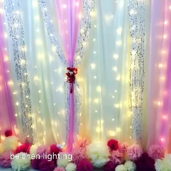 Hot selling 3X3 M 300 LED warm white curtain string lights Christmas Decorative Xmas  for bedroom/party/wedding