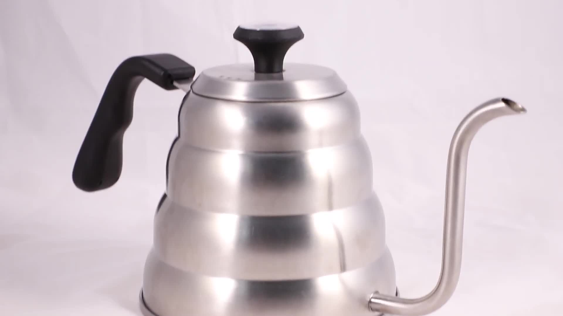 2018 high quality new coming stainless steel gooseneck kettle drip coffee and tea pot with thermometer
