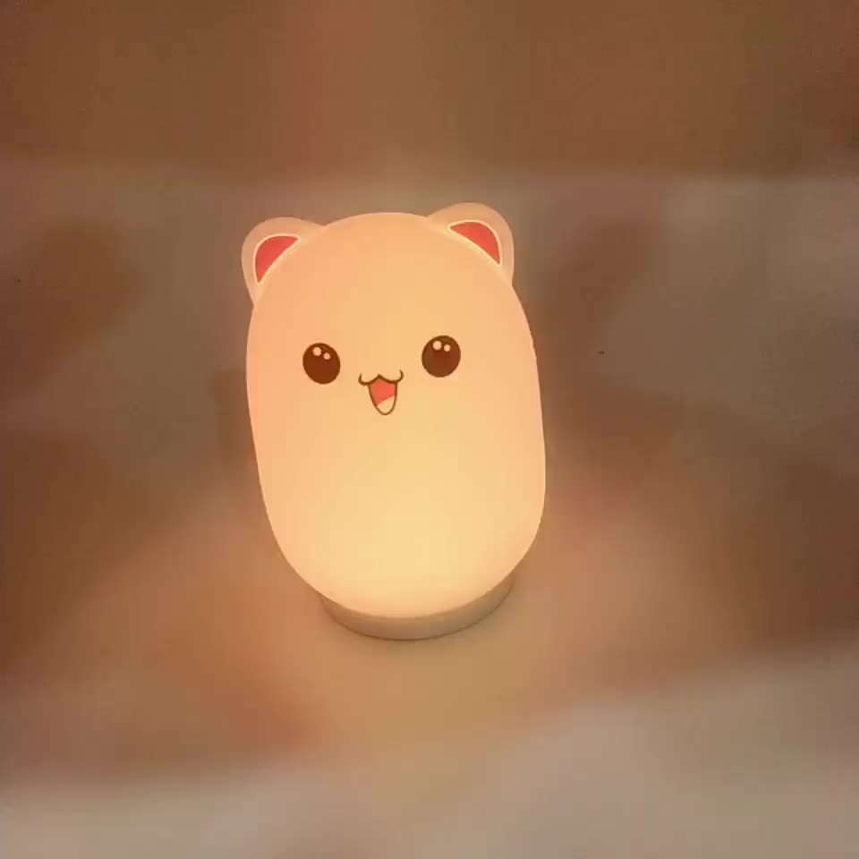 LED kids silicone baby lamp warmly rabbit nursery night light with 3AAA battery and USB power