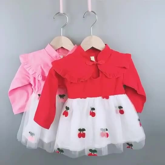 New Arrivals Baby Lace Sweet Kids Dresses For Girl Kids Long Sleeve Baby Cute Embroidery Cherry Skirts Dresses
