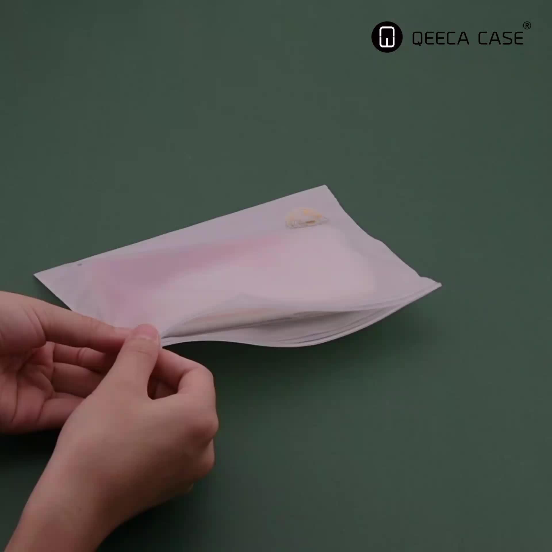 Baixo MOQ Private Label Zip Embalagem Saco de Plástico Com Impressão Próprio LOGOTIPO Personalizado Caso de Telefone Transparente
