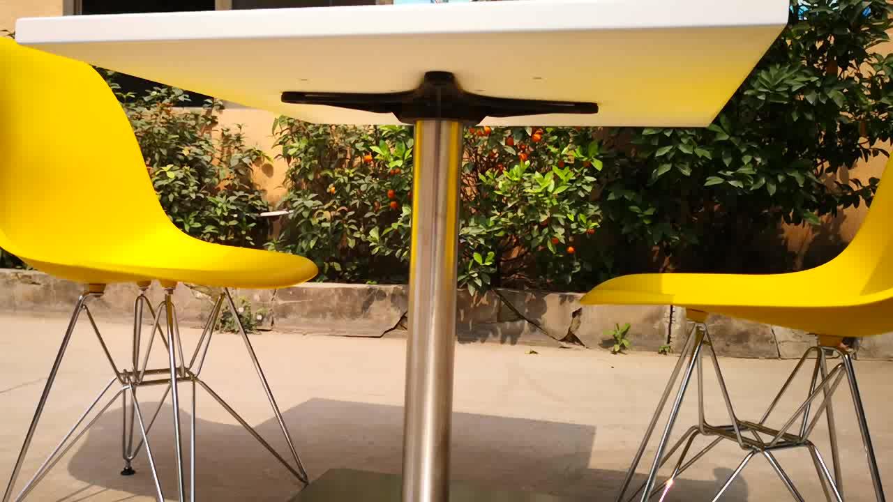 आसान साफ वर्ग सफेद तालिका के शीर्ष/पत्थर दौर तालिका के शीर्ष/कैफे मेज और कुर्सियों