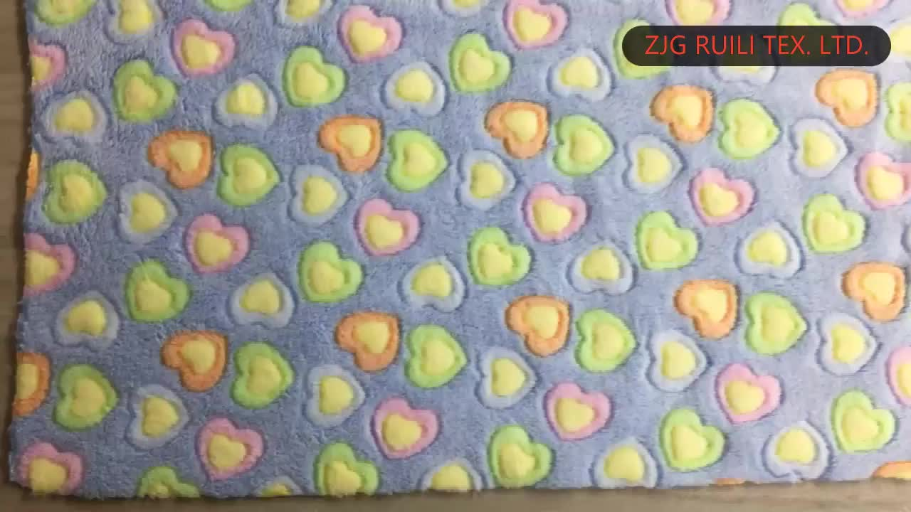 polyester warp knit 3D printed jacquard two faced coral fleece fabric pajamas material