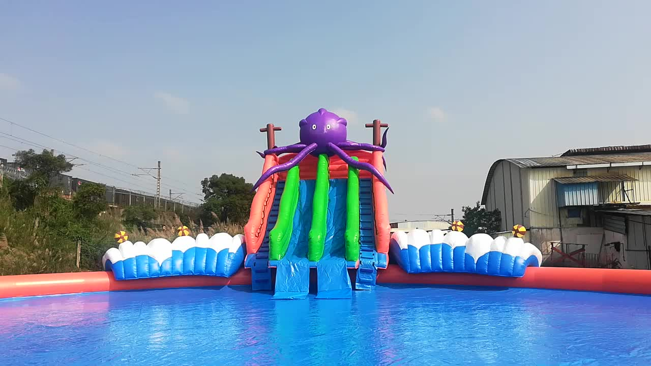 2019 Hot sale!!! Octopus screw  inflatable water park  for kids and adult