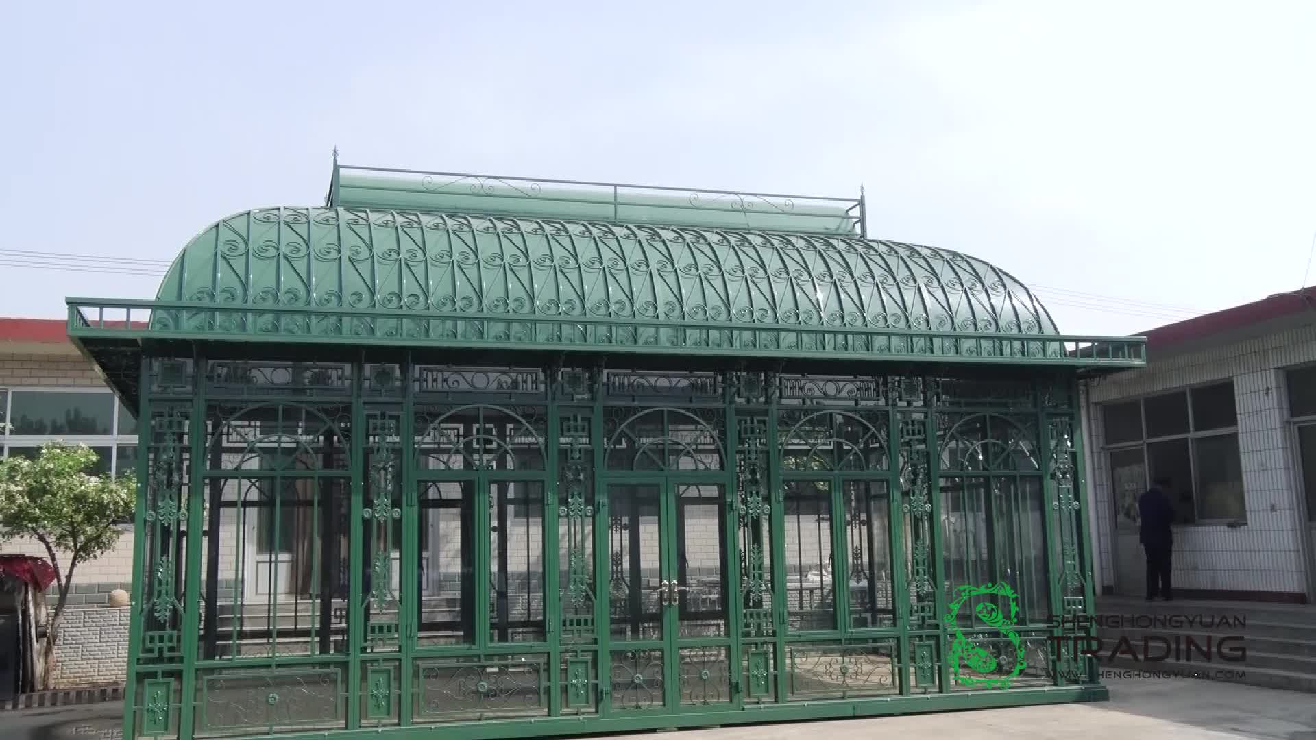 garden steel pavilion/cast iron green house, outdoor house decorative wrought iron gazebo for sale