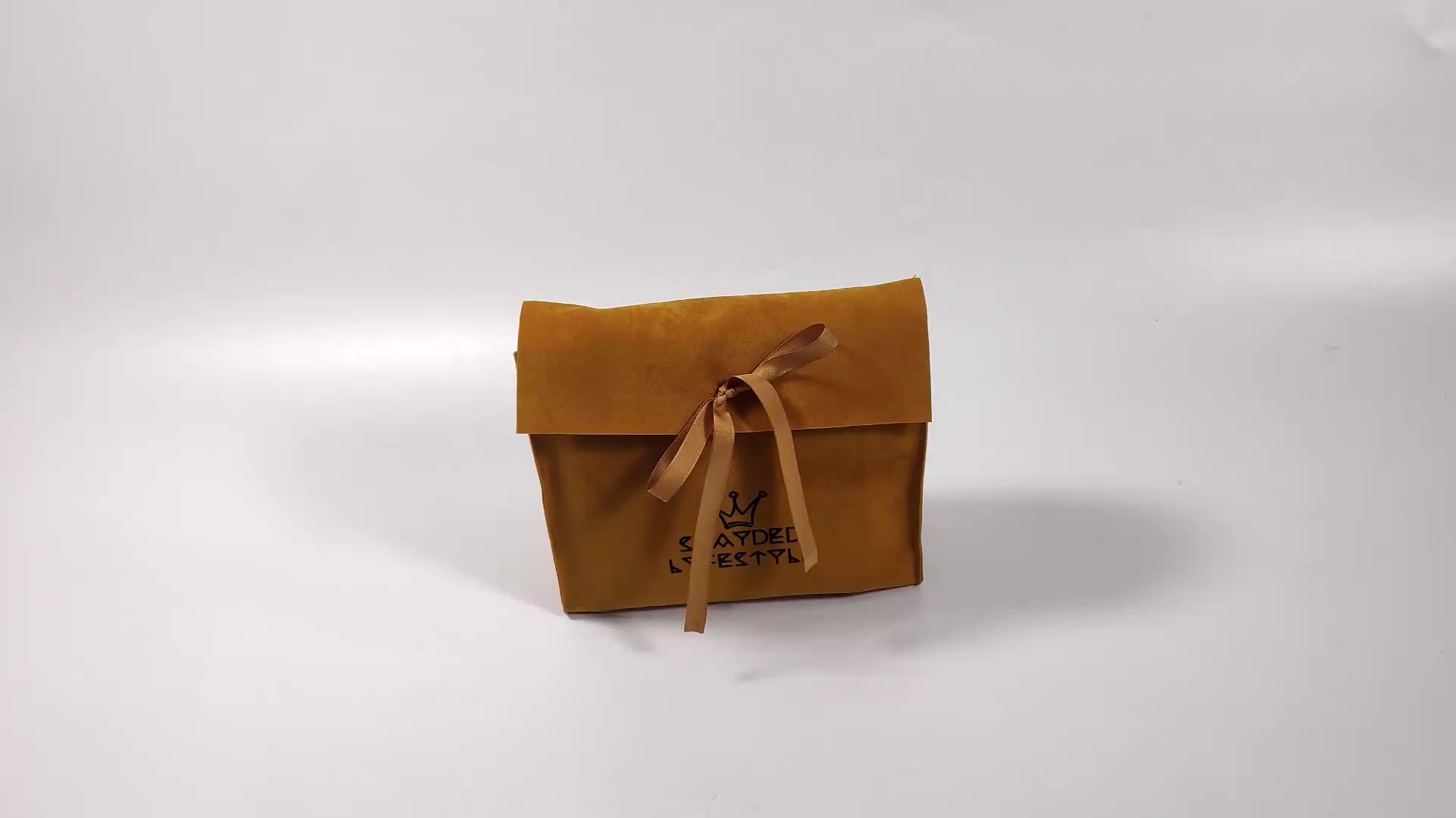 Flap kadife kurdele Kese Yüksek Kaliteli Süet Takı Süet Hediye kadife takı çantası Çanta Özel Logo takı kılıfı Özel Logo