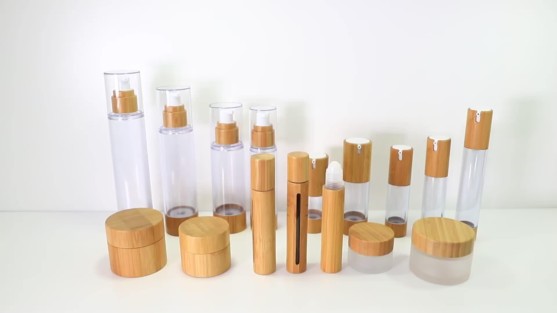 RTS Schnelle verschiffen 15g 30g 50g 100g frosted kosmetische glas mit natürlichen bambus kappe