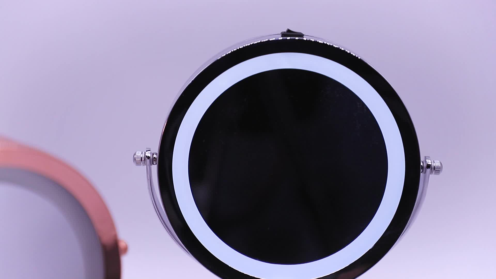 2018 chrome hot bedroom double side  beauty led lighted 10x magnification makeup mirror