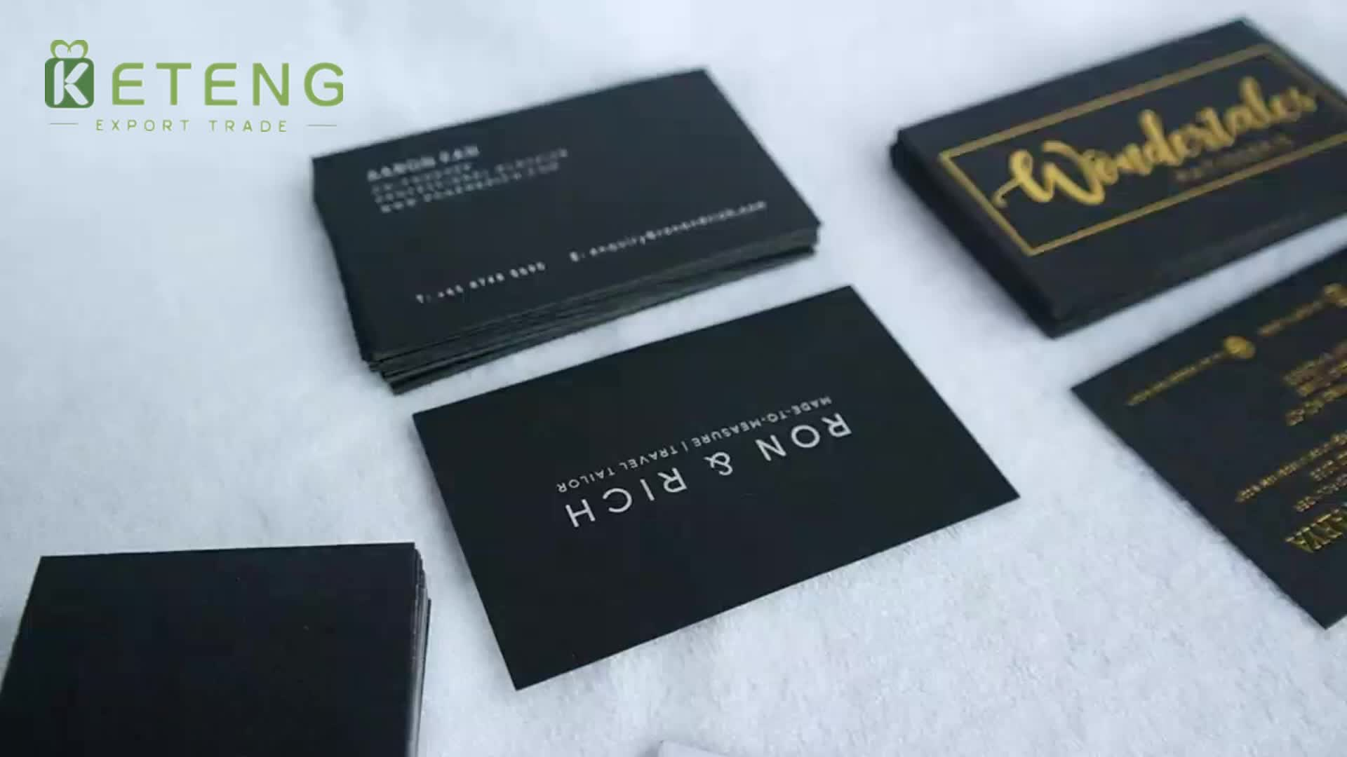 high end 750gsm black card paper business cards hot stamping name cards printing - Name Card Printing