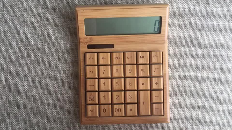 Umweltfreundlicher neuer 12-stelliger Bambus-Taschenrechner mit großem Design