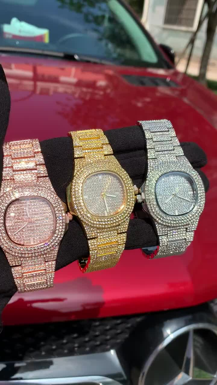 ヒップホップブリンブリンダイヤモンド腕時計メンズローズゴールドステンレス鋼メンズクォーツ腕時計レロジオ masculino