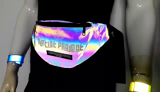 high light quality customized logo sport reflective rainbow PU holographic fanny pack waist bag for outside night running safety