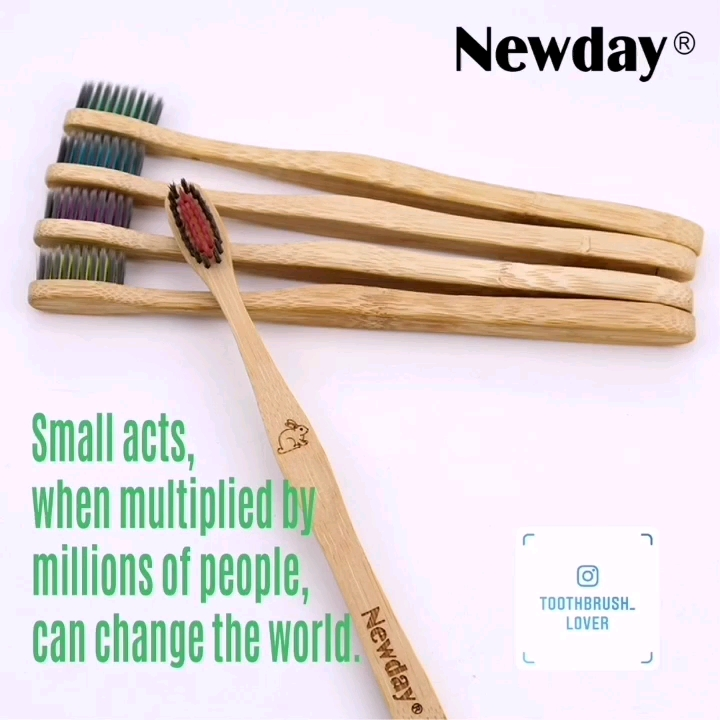 flat handle biodegradable eco bamboo toothbrush with soft Nylon610 bristles BPA free