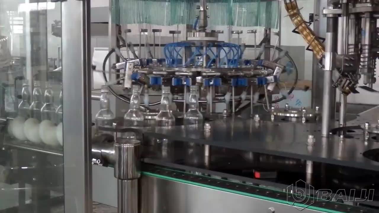 Monoblock wine spirits filling capping  labeling machine / alcohol beverage bottling equipment / wine filling plant