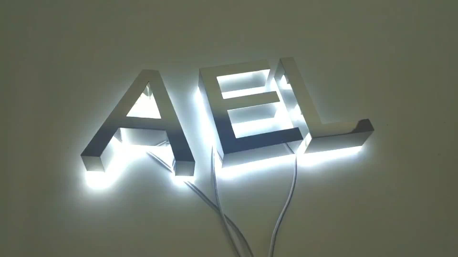 في الهواء الطلق الذهب الفولاذ المقاوم للصدأ الخلفية ثلاثية الأبعاد أحرف لافتة led