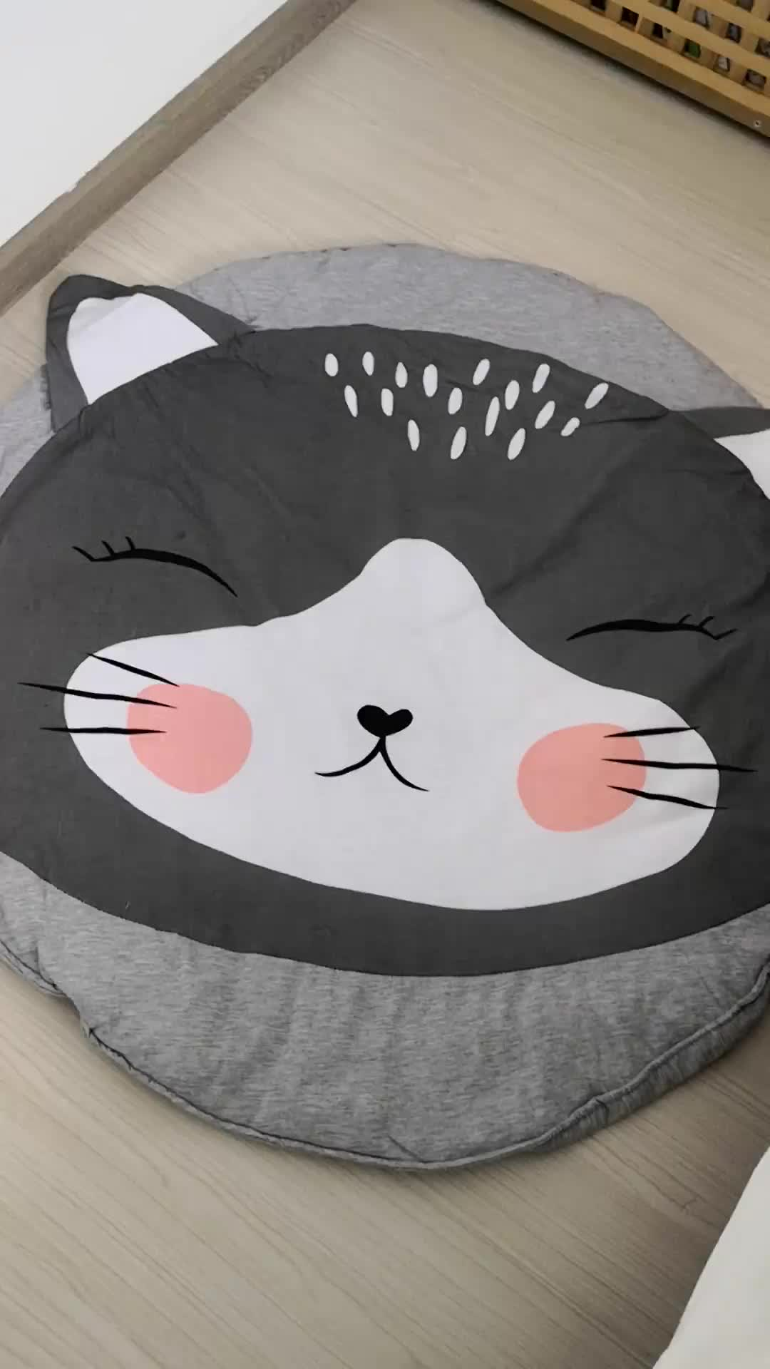 2018 Hot Cartoon Cat Grey Baby Quilted Round Play Mats