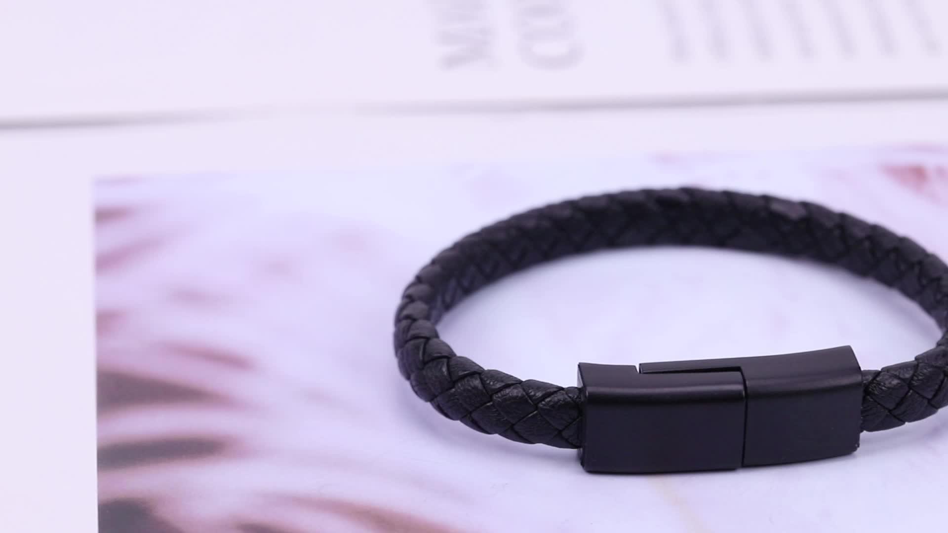 도매 맞춤 팔찌 전화 케이블 충전기 USB 가죽 팔찌