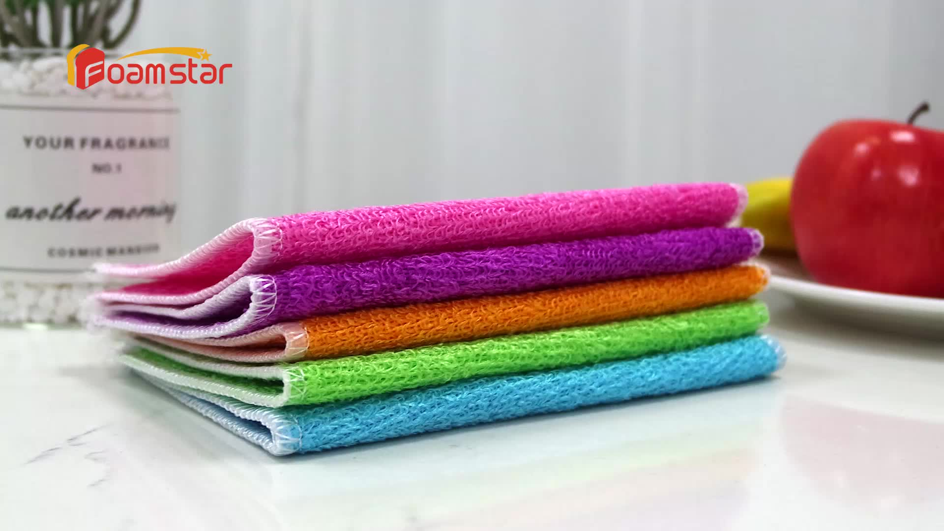 Colorful Customized Bamboo Fiber Kitchen Cleaning Dish Washing Cloth