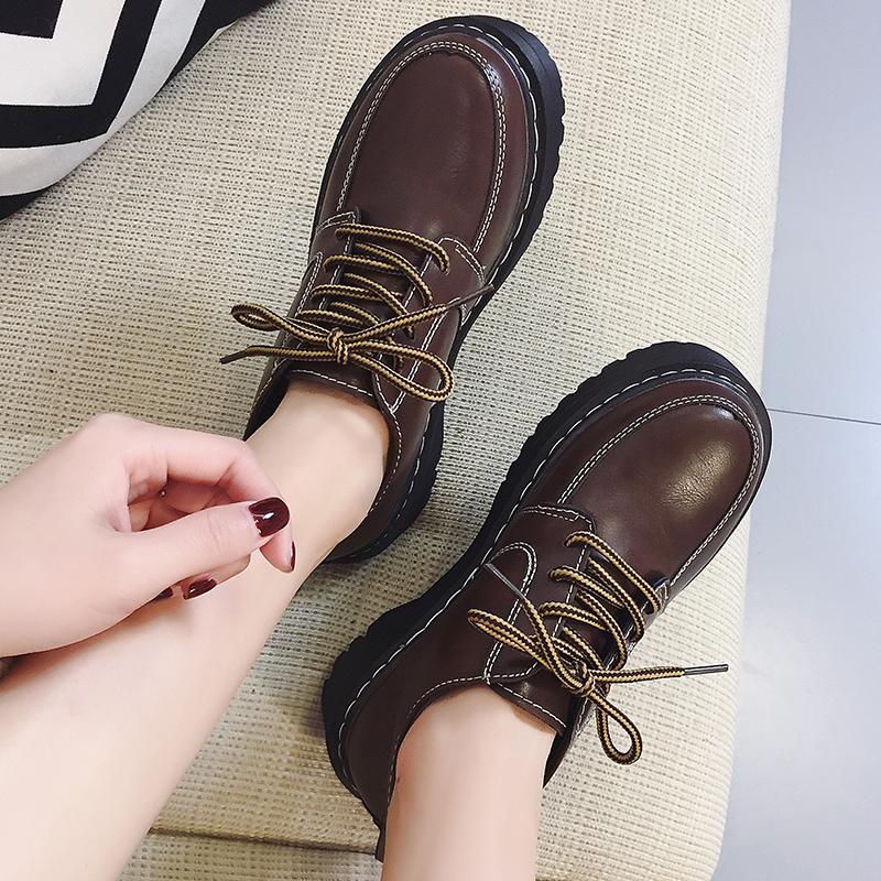 原宿风2017冬季新款韩版百搭学院小皮鞋女复古英伦ulzzang学生鞋