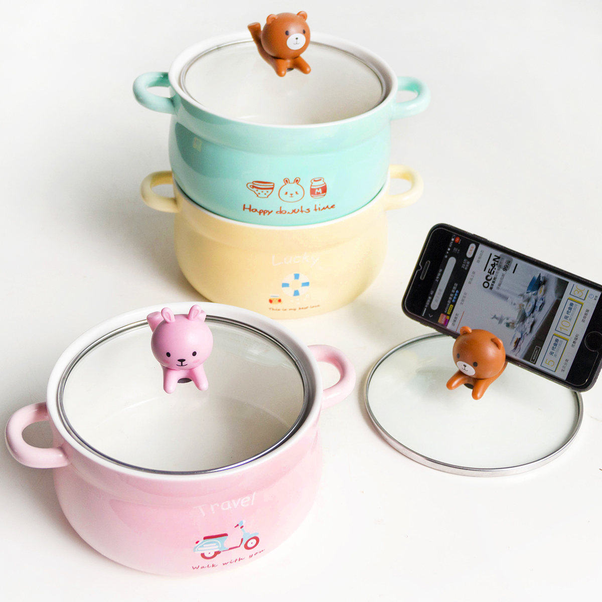 Ezicok cute Korean students creative tableware bowl with cover bowl box lunch box with ceramic ears  sc 1 st  EnglishTaobao.net & USD 21.57] Ezicok cute Korean students creative tableware bowl ... Aboutintivar.Com