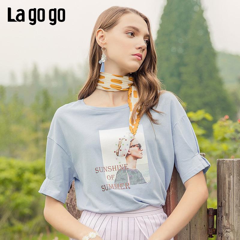 Lagogo2019夏季新款撞色纯棉印花短袖宽松浅蓝色T恤女IATT314F01
