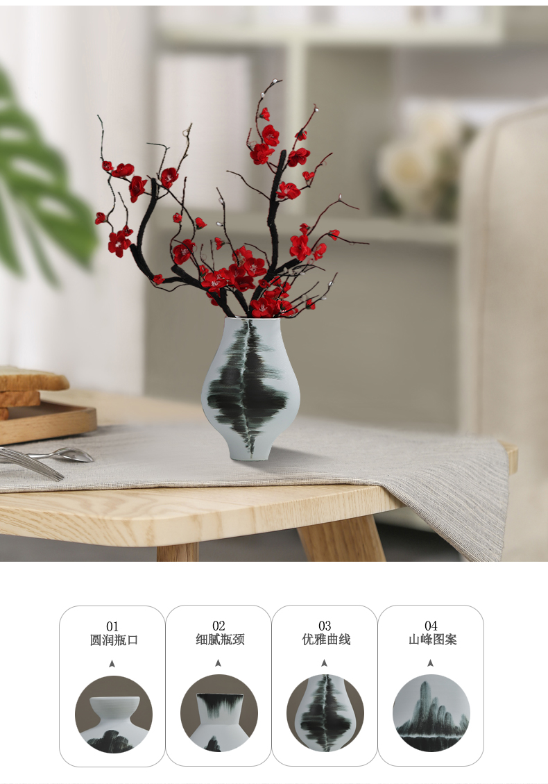 New Chinese style ceramic vase is placed between the sitting room porch TV ark, example zen tea room decoration home decoration