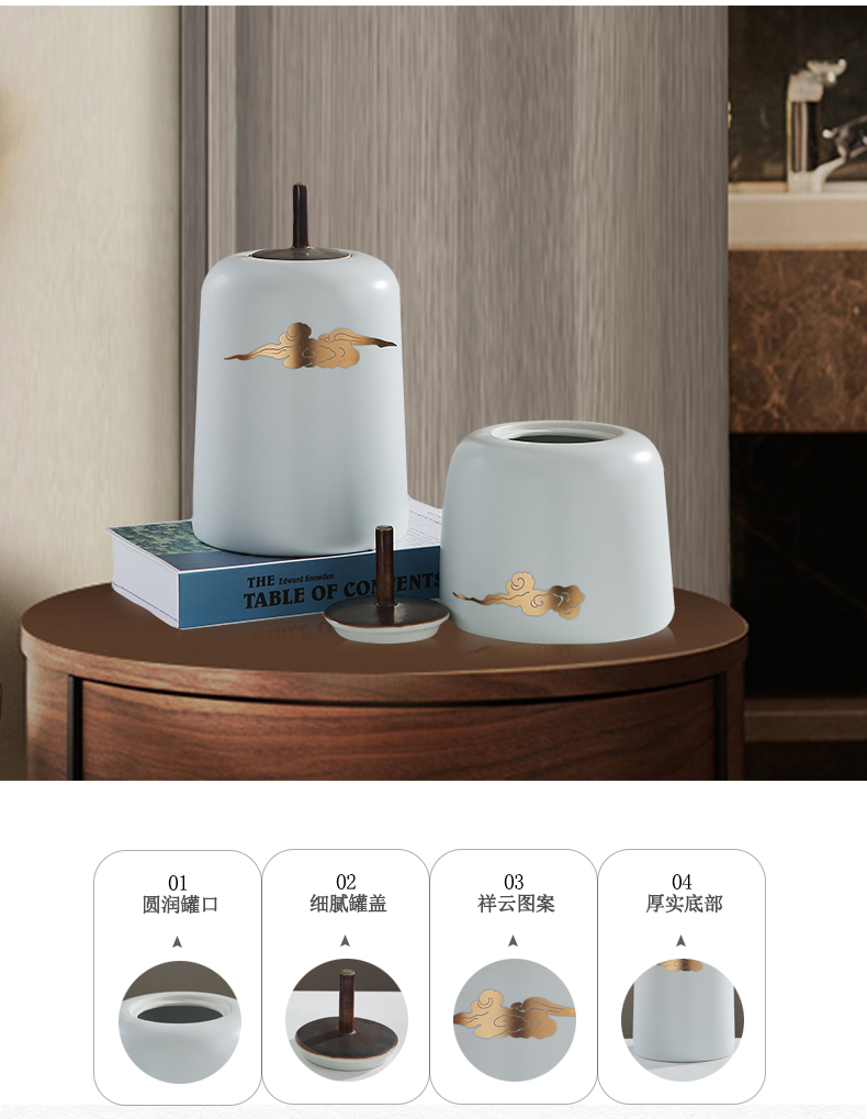 New Chinese style ceramic sitting room porch light key-2 luxury furnishing articles zen TV ark, teahouse storage tank household soft adornment