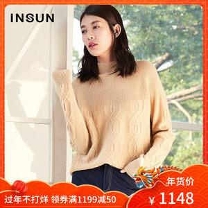 INSUN/恩裳简约半高领保暖100%山羊绒宽松套头长袖毛衣女