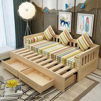 Диван-кровать из массива дерева со складыванием Двухтактная небольшая квартира многофункциональная 1,5 м гостиная 1,8 один Двойное сидение для двух человек