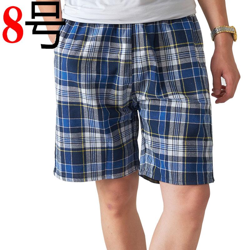Mùa hè trung niên quần short nam cha nạp trung niên bãi biển quần kẻ sọc cotton cha mỏng giản dị năm điểm quần