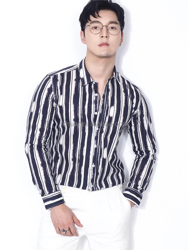 Kawazawa striped printed linen shirt men's 2020 new Korean version slim style four seasons long-sleeved shirt trend 47 Online shopping Bangladesh