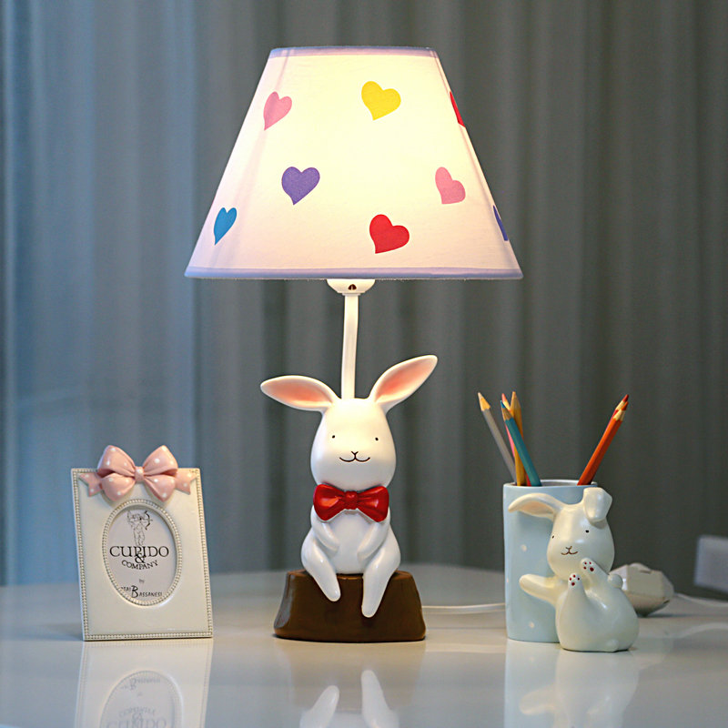 USD 39.14] Small white rabbit remote control dimmable LED table lamp ...