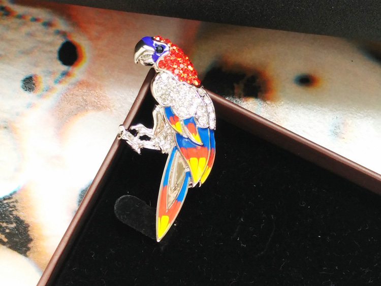 New light lady wind coat brooch female brooch pop pin K gold inlaid diamond parrot bird jewelry gift package mail