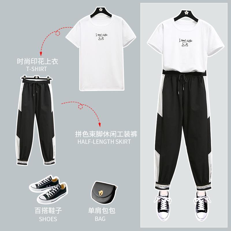 實拍實價2020夏時尚印花刺繡短袖T恤+高腰小褲腳運動褲套裝