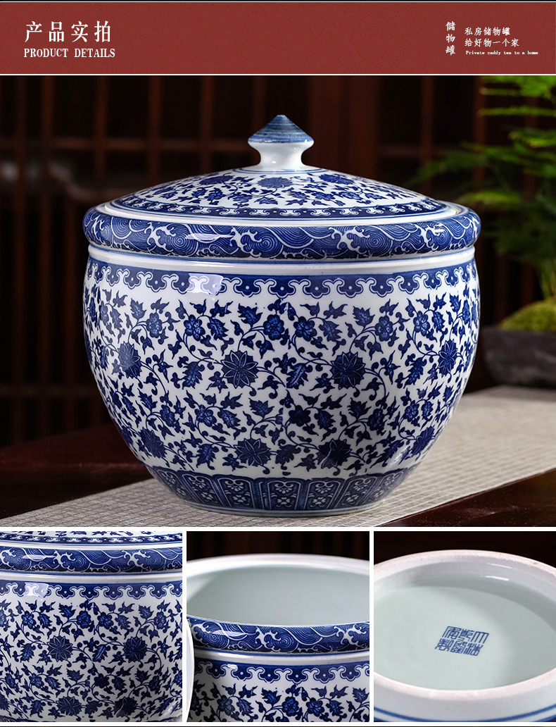Jingdezhen ceramics home with cover storage tank is moistureproof insect - resistant seal pot 10 jins barrel furnishing articles of blue and white porcelain