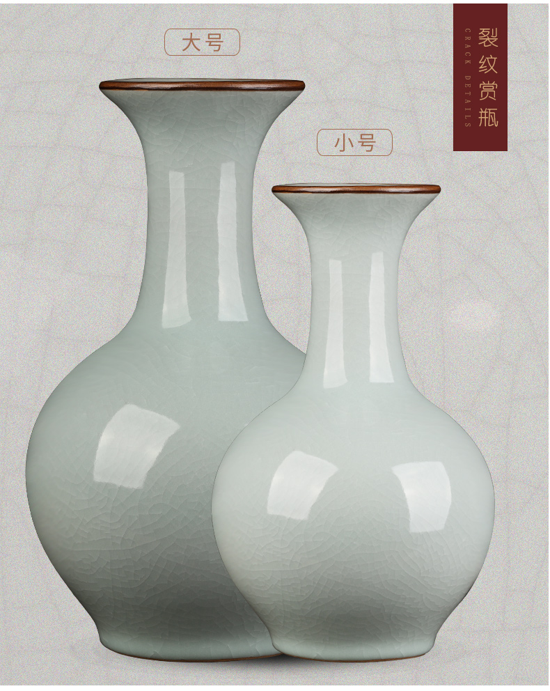 Archaize of jingdezhen ceramics up crack flower vase furnishing articles sitting room of Chinese style restoring ancient ways is rich ancient frame ornaments