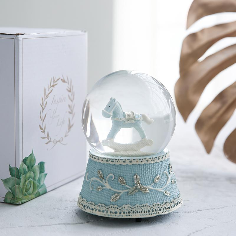水晶球摆件音乐盒八音盒女孩小公主生日礼物女生情人节礼物送女友