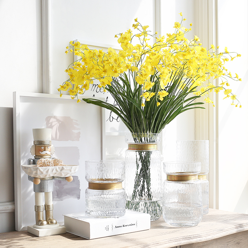 Usd 5048 Bx Light Luxury Transparent Glass Metal Edging Vase