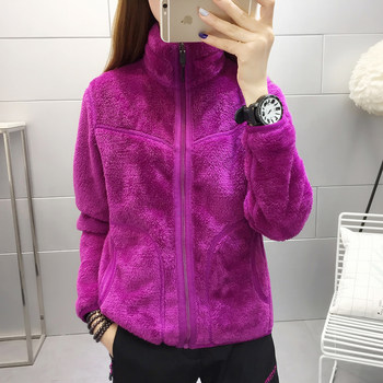 Women on both sides wear Fleece autumn and winter mountaineering outdoor sports clothing coral velvet jacket thick warm wind