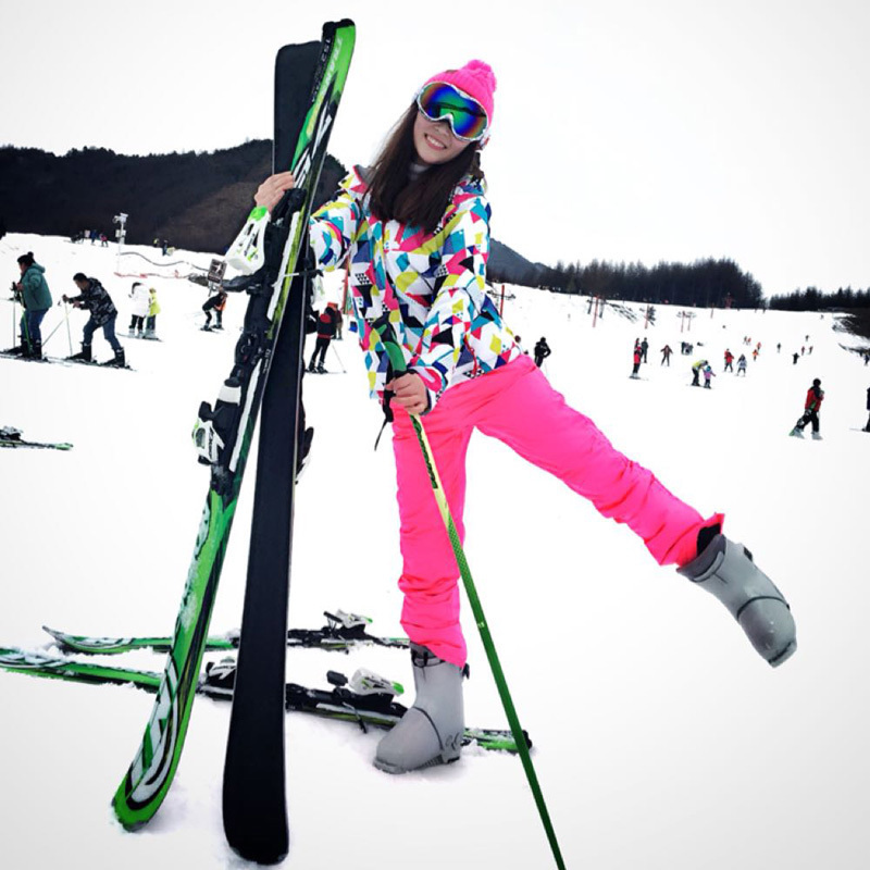 Катание на лыжах одежда женщина установите шпон двойная плита корея на открытом воздухе геометрическом теплый ветер воздухопроницаемый зимний уплотнённый катание на лыжах одежда